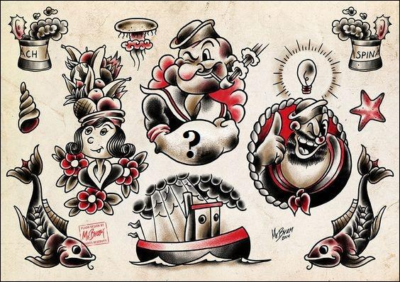 Quel tatouage Popeye a-t-il sur chaque avant-bras (tatouage faisant référence à son métier) ?