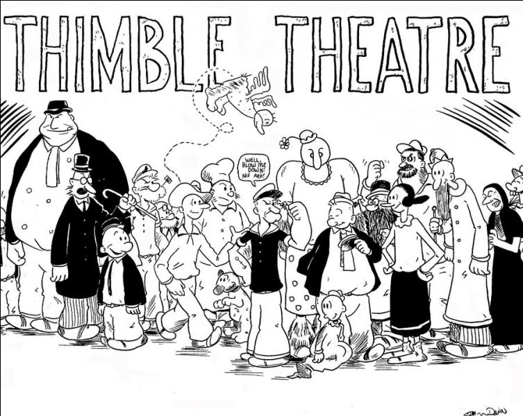 """En quelle année apparaît le personnage de Popeye dans le comic strip """"The Thimble Theatre"""" (créé par E. C. Segar) ?"""