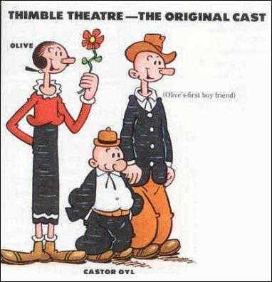 Olive Oyl était alors l'un des personnages principaux du comic avant de s'effacer au profit de Castor, qui deviendra le personnage principal avant de s'effacer à son tour face à Popeye. Qui est Castor pour Olive ?