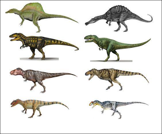 Parmi ces 8 grands dinosaures carnivores, lesquels ont disparu lors de la catastrophe qui a mis fin au règne des reptiles géants ?