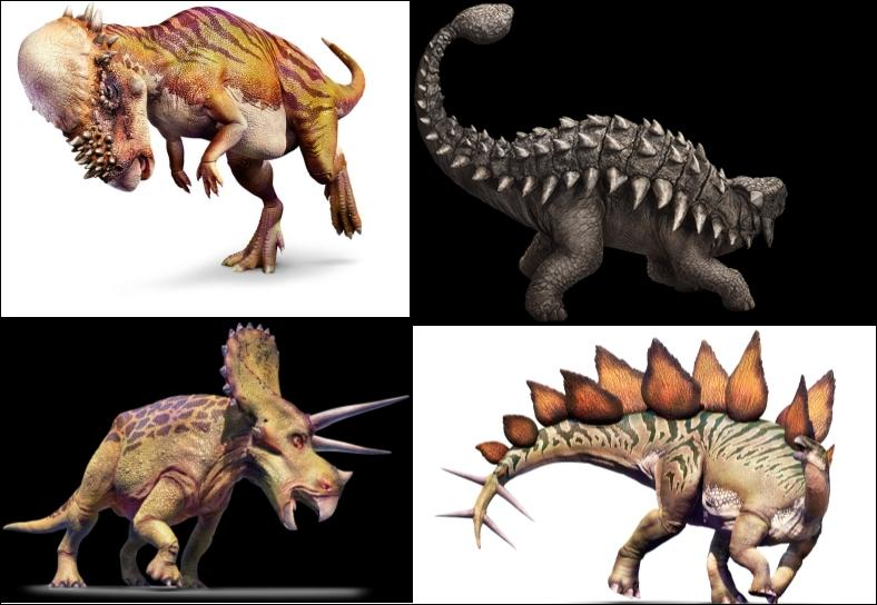 Parmi ces 4 dinosaures herbivores les mieux armés, lequel a disparu bien avant la disparition des derniers dinosaures ?