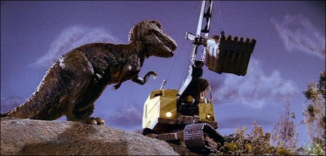 Dans quel film, sorti en 1960, voit-on un tractopelle combattre un tyrannosaure ressuscité par la foudre ?