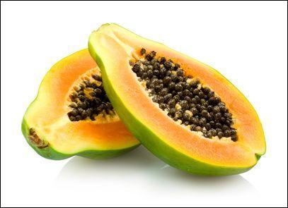 """Ce fruit à pulpe orange renferme de nombreuses graines noires. Quelles lettres précèdent le """"e"""" final ?"""