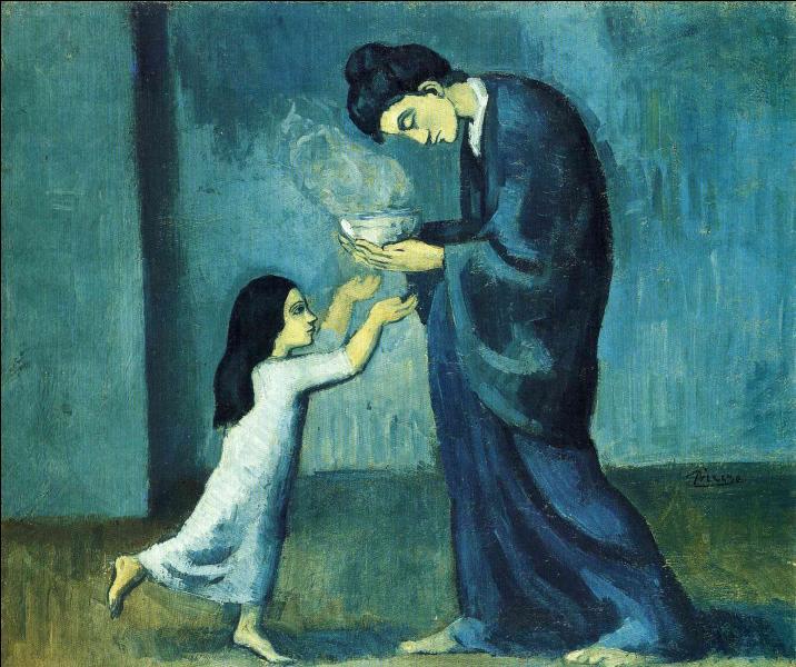 """Quelles sortes de scènes que je vous laisse contempler sur cette toile, ont été représentées par Picasso au cours de sa """"période bleue"""" ?"""