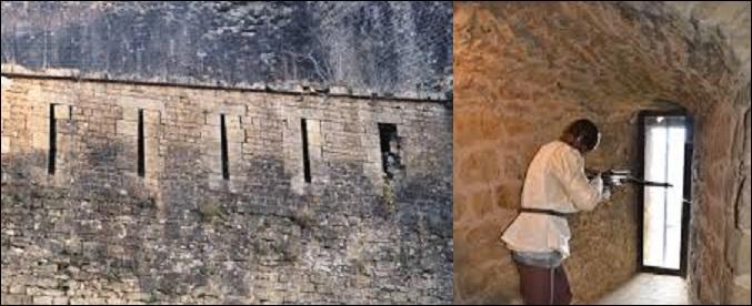Au Moyen Âge, dans un château fort, comment s'appelaient les ouvertures longues et étroites dans les murailles, qui servaient à tirer à l'arc ou à l'arbalète, protégeant ainsi l'archer des projectiles et tirs venant de l'extérieur ? (vue de ces ouvertures de l'extérieur et de l'intérieur).