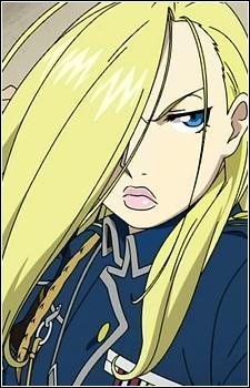 """Je suis général de division dans l'armée d'Amestris et ma principale mission est de protéger les frontières nord du pays de ma forteresse. On me surnomme la Reine des glaces. Je n'aspire qu'à une seule loi : """"la loi du plus fort""""."""