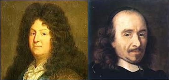 Parmi ces trois œuvres, laquelle n'est pas de Jean Racine (1639-1699), mais de Pierre Corneille (1606-1684) ? (À gauche : Jean Racine ; à droite : Pierre Corneille).