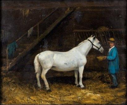 """Sur ce tableau de Gustave Courbet, un homme est responsable de l'entretien du cheval de course. Comment l'appelle-t-on ? Ajoute une lettre au mot """"la"""" et tu le sauras."""