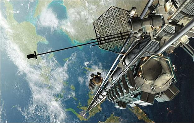 Ce projet ici photographié est celui d'un ascenseur reliant la Terre à l'espace. C'est un projet japonais qui pourrait voir le jour (mise en construction) en quelle année ?