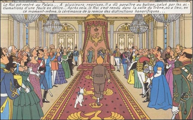 Dans le même album, Hergé s'est représenté parmi les personnages de la Cour de Syldavie. Quel autre auteur de BD figure également sur la même vignette ?
