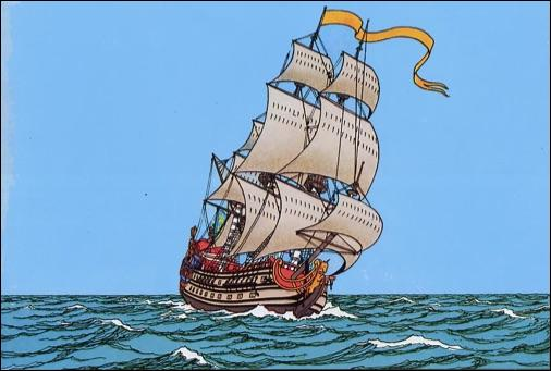 """Que transportait principalement le vaisseau """"La Licorne"""" avant l'attaque de Rackham le Rouge ?"""