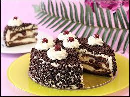 Retrouvez le nom de ce gâteau monté à partir de génoise au cacao, parfumée au kirsch !