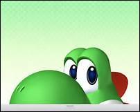 Thrudon a voulu te faire plaisir en te donnant une peluche du monde de Mario, sa préférée, ressemblant à un petit dinosaure vert :
