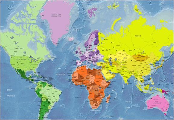 Quel océan peut être représenté deux fois sur un planisphère puisque la Terre est ronde ?