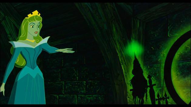 """Dans cette scène de """"La Belle au bois dormant"""", que fait Aurore ?"""