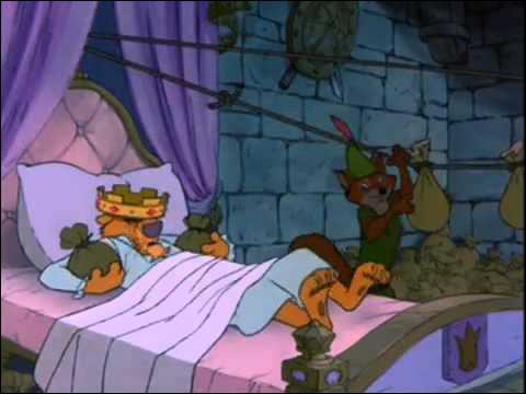"""Dans cette scène de """"Robin des bois"""", que se passe-t-il pour prince Jean alors qu'il dort ?"""