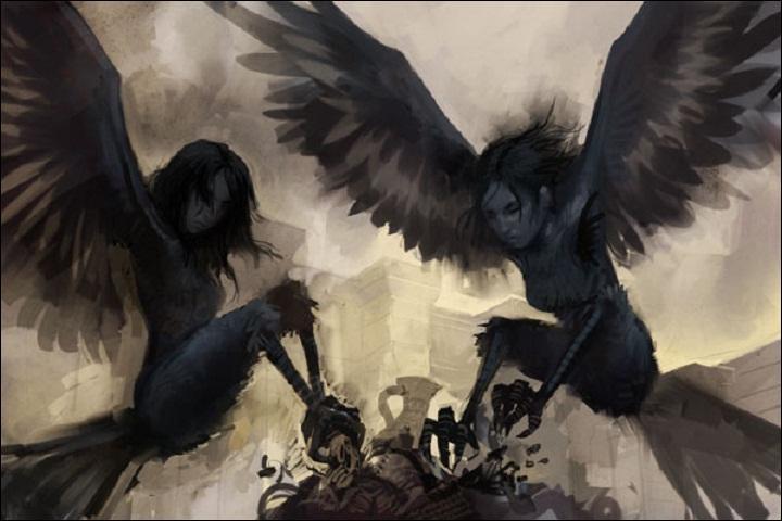 Dans la mythologie grecque, sous quel nom regroupe-t-on les 3 filles de Thaumas, au corps d'oiseau et à tête de femme, qui enlèvent les enfants et les âmes ?