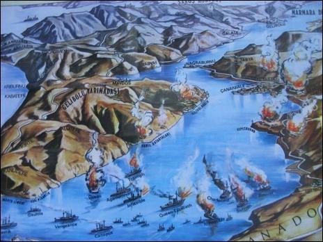 Dans quel pays se trouvent les Dardanelles où eut lieu la première expédition navale franco-anglaise de 1915 ?