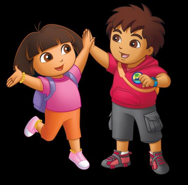 Dora l'exploratrice parle avec les téléspectateurs en ----.