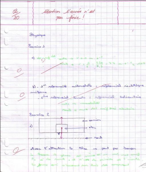 Un de tes élèves a un résultat comme celui-ci, que lui fais-tu ?