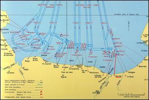 Les forces Alliées ont débarqué sur les plages de l'ouest du Calvados et de l'est du Cotentin. Quels secteurs étaient ceux des Anglos-Candadiens?