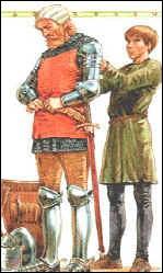 L'écuyer a 14 ans, son maître en a le triple. Si l'on divise l'âge du chevalier par celui de son écuyer, on obtient, en ajoutant un an, le nombre d'années qu'il reste avant l'adoubement de l'écuyer. Donc...