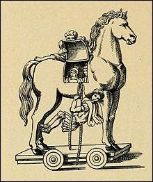 Pendant la guerre de Troie ... imagina une ruse pour battre les Troyens. Il leur fit cadeau d'un cheval rempli de soldats.