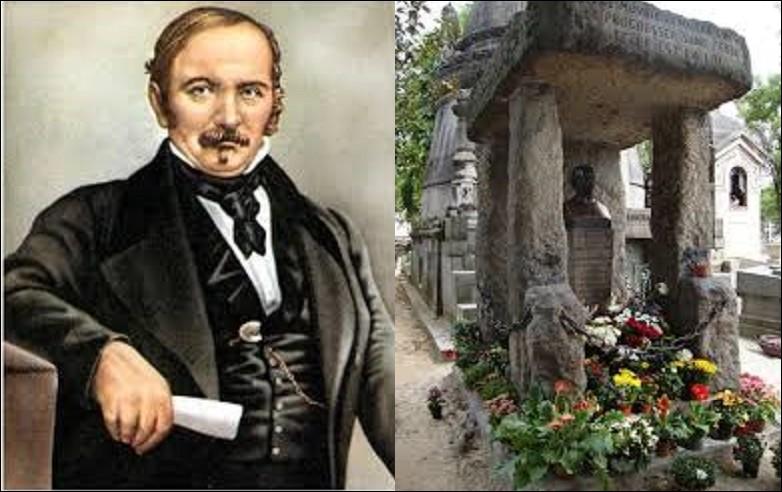"""De son vrai nom Hippolyte Léon Denizard Rivail, Allan Kardec né à Lyon, en 1804. Pédagogue, il fonde, en 1857, une nouvelle philosophie """"le spirite"""" ou """"spiritisme"""". Décédé en 1869, sa tombe se situant dans la division n°44, reste de nos jours la plus fleurie du cimetière. Son oeuvre influence également encore fortement aujourd'hui la culture et la vie publique d'un pays d'Amérique du Sud :"""