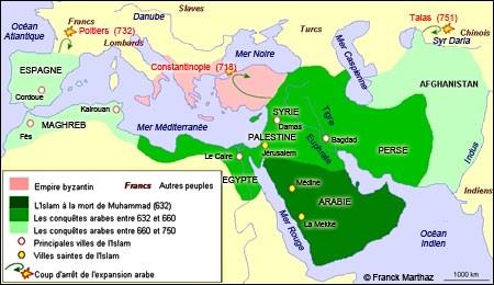 Vers le Ve siècle et le VIe siècle, quel pays d'Europe a été quasiment entièrement envahi par les musulmans ?