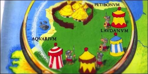 """Sur cette image tirée de la BD """"Astérix"""", quel est le nom du camp romain manquant ?"""